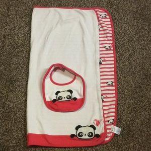 Gymboree Panda Receiving Blankets & matching Bib